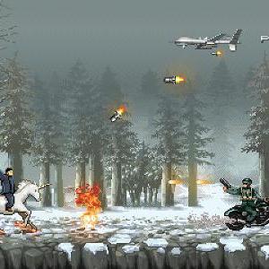 金正恩がユニコーンに乗ったり銃をぶっ放しながらアメリカと戦う『コントラ』風アクションゲーム登場!