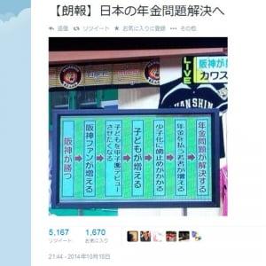 阪神優勝で少子化も年金問題も解決? 『Twitter』での画像が話題に
