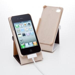 縦置きスタンドにも! 天然木×牛革デザインの『iPhone 4』用フリップケース