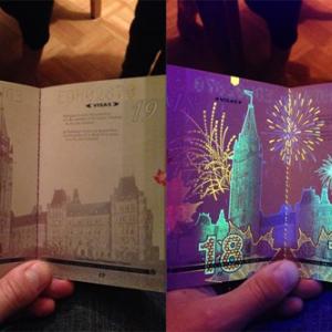 カナダが新パスポートを導入 ブラックライトを当てると隠された絵柄が浮かび上がる!